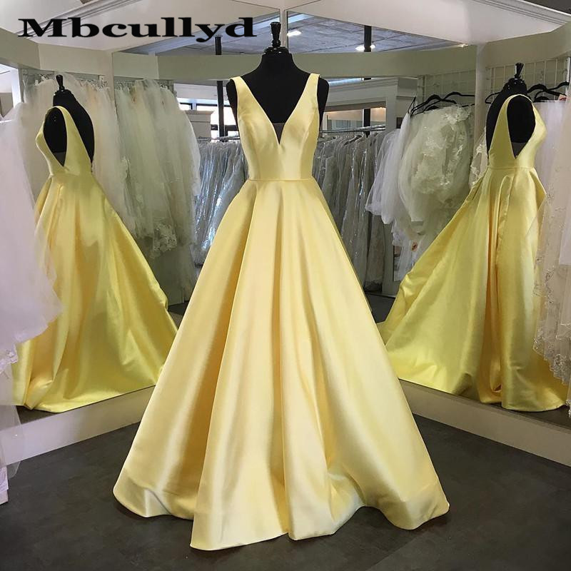 Mbcullyd Yellow Satin   Prom     Dresses   Long 2019 Deep V-neck Backless A-line Formal Evening   Dress   Gown For Women robe de soiree