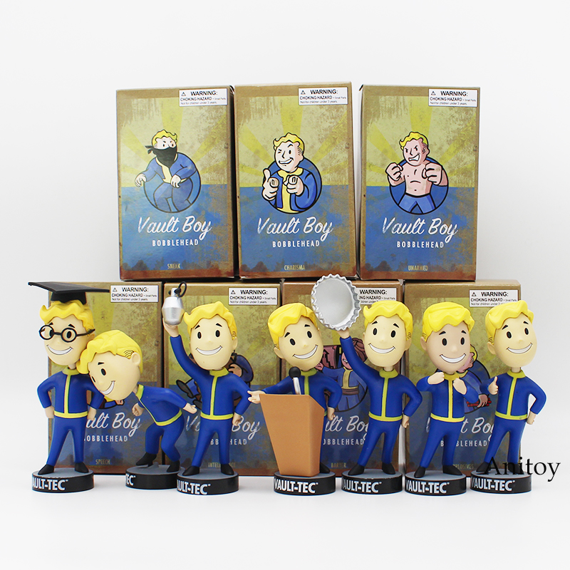 Fallout Vault Boy Bobble Head PVC Action Figure Collectible Model Toy 7 Styles KT1777 funko pop marvel loki 36 bobble head wacky wobbler pvc action figure collection toy doll 12cm fkg120