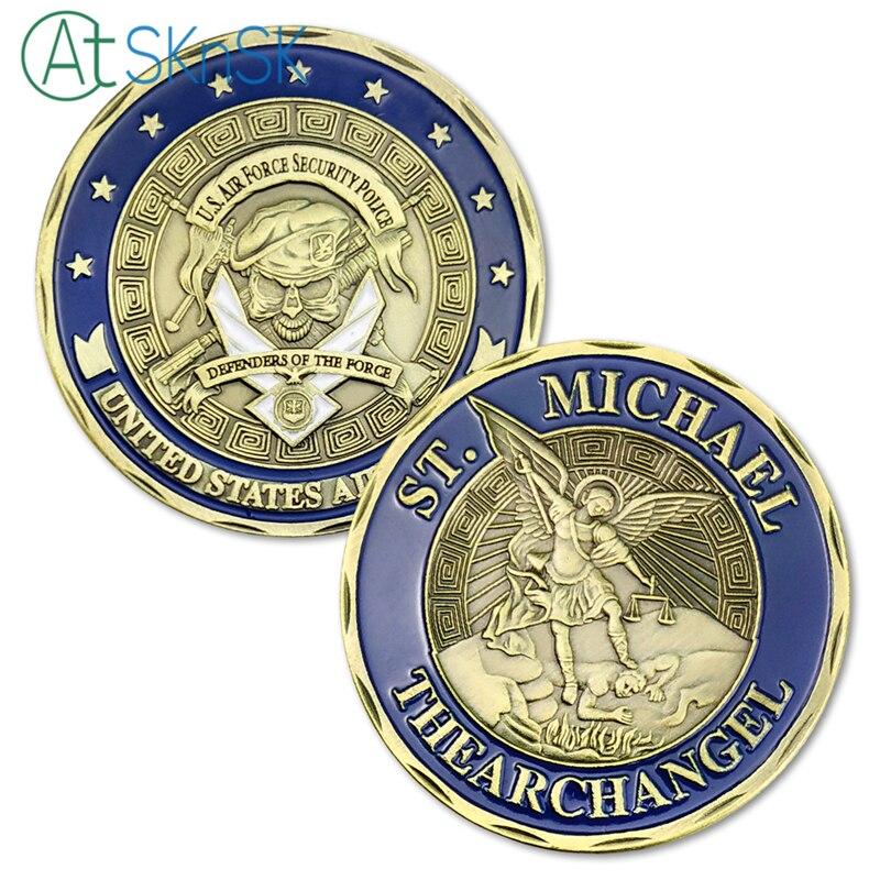 St Michael Archangel Challenge mince USAAir Force bezpečnostní policejní mince pro sbírání Collectible Spojené státy DÁREK