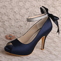 Wedopus MW567 Navy Satin Platform Ribbon Strap Wedding Party Shoes High Heel Peep Toe