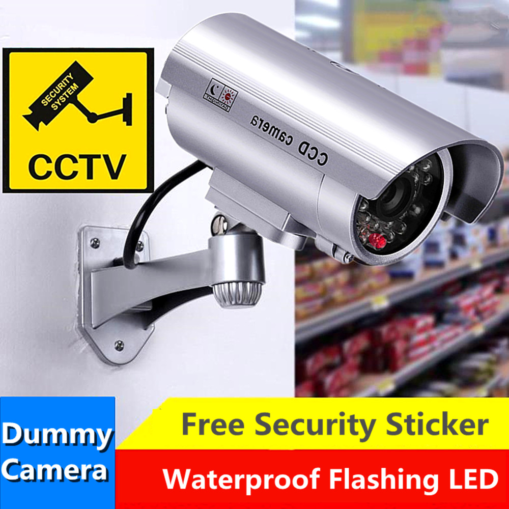 Dummy Security Camera Fake Outdoor LEDs Blink Flashing Light Home Surveillance