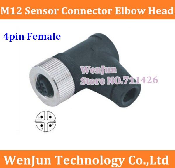 bilder für 50 STÜCKE Kostenloser Versand M12 4pin 4 kern weibliche Luftfahrt stecker/Stecker, 50 Teile/los M12 4 pin Ellenbogen Sensor stecker
