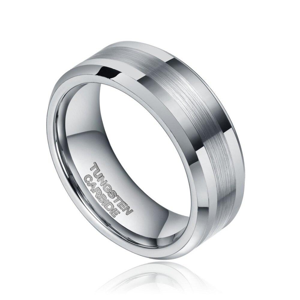 2Pcs 6mm 8mm Silver Tungsten Ring Men Women Wedding Band Camouflage ...