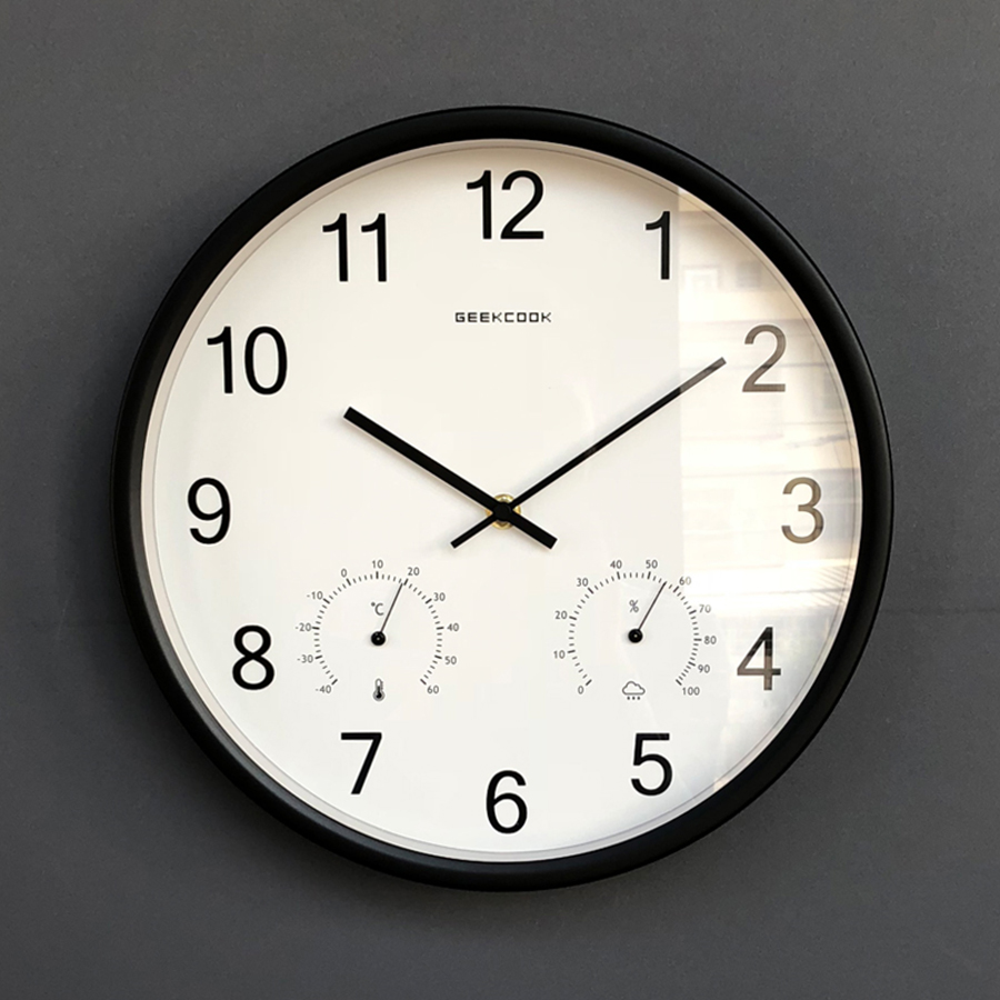 Mute Wall Clock With Thermometer Hygrometer Round Home Decoration Accessories Modern Horloge Mural Clocks Gift Ideas 50KO525