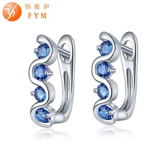 FYM Brand 7 Colors Inlay Zircon Four Blue Round AAA Cubic Zircon Earrings For Women Luxury Sliver color Hoop Earrings fym brand round colorful cubic zircon bracelets