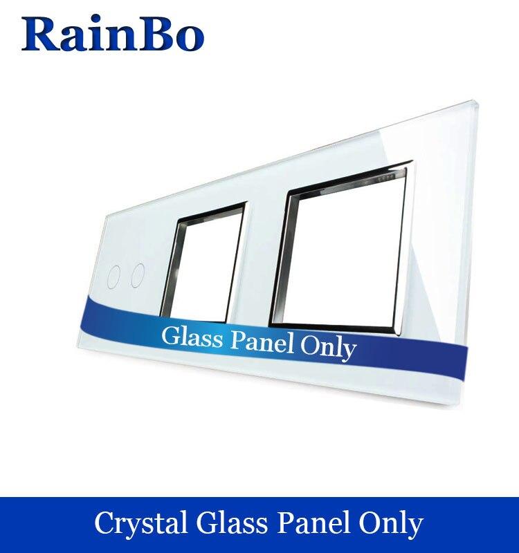 Rainbo libere panel lujo del vidrio cristalino 3 Marco 2 Gang panel de interruptor de pared 222mm * 80mm UE estándar DIY accesorios A39288W/B1