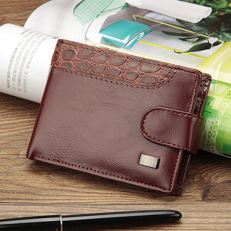 2019 New Patchwork Leather Men Wallets Short Male Purse With Coin Pocket Card Holder Brand Trifold Wallet Men Clutch Money Bag 3