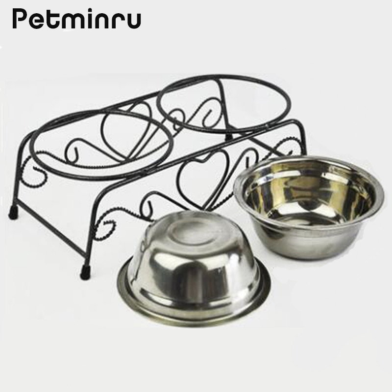 Petminru Double Stainless Steel Bowls Pets