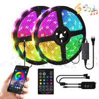 Qualitied 10m DC12V SMD 5050 RGB Led Strip Light 30LEDS/M IP65 Waterproof + Music Led Remote Controller +5A Power Supply Kit