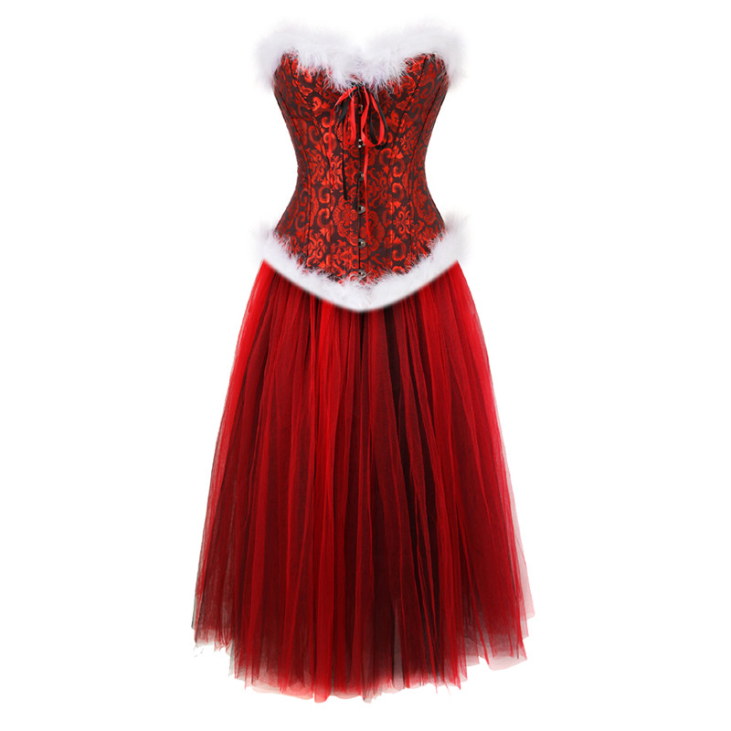 Christmas Corset Dress Feather Whtie Halloween Costumes Floral Bustiers & Corsets Skirts Set Fashion Lingerie Plus Size Red Top