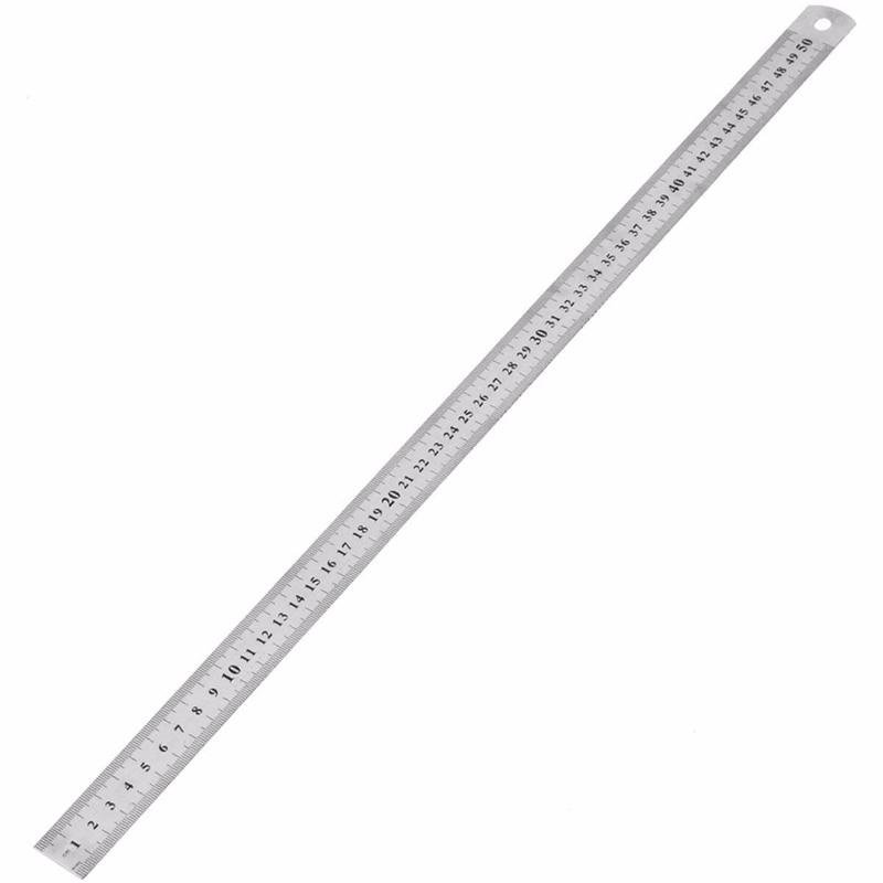 1 Uds. Herramienta de medir recta de acero inoxidable de doble cara a escala 15cm/20cm/30cm/50cm, regla para material escolar y de oficina de 0,5mm/0,7mm