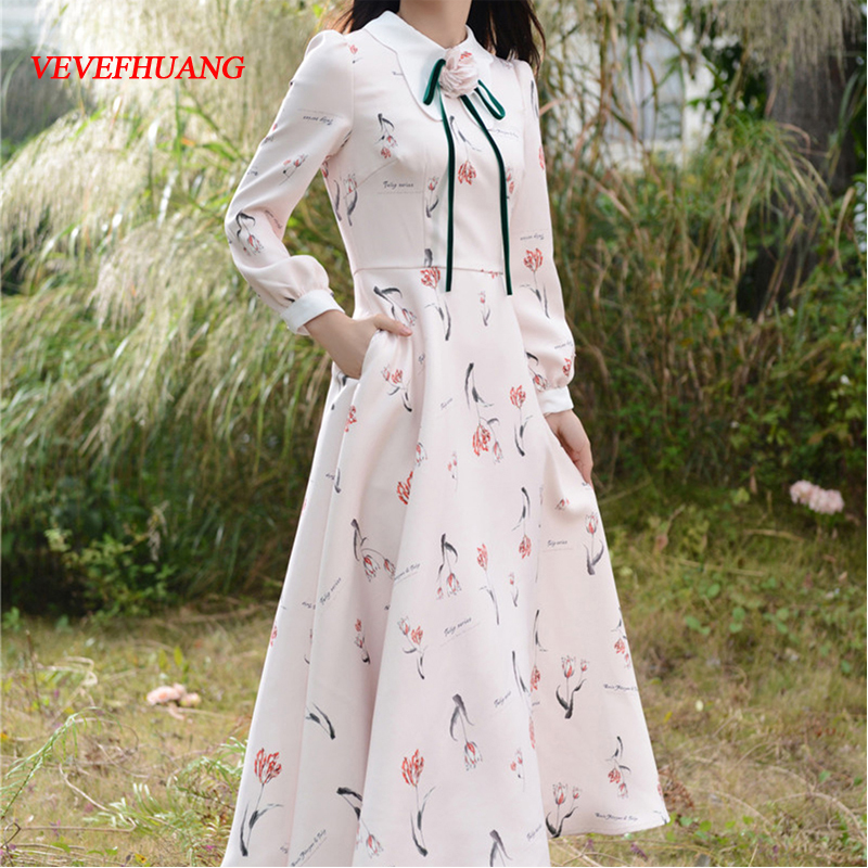 2018 Women Long Love Elegant High-end Fabrics China Brooch Dresses Tulips With Pectoral Flower Dress L0702