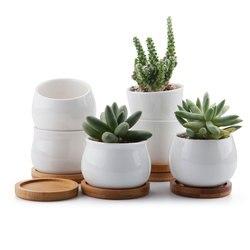 T4U cerámica suculentas maceta bonsai planta Cactus macetas maceta contenedor con bandejas de bambú 6 unids/lote