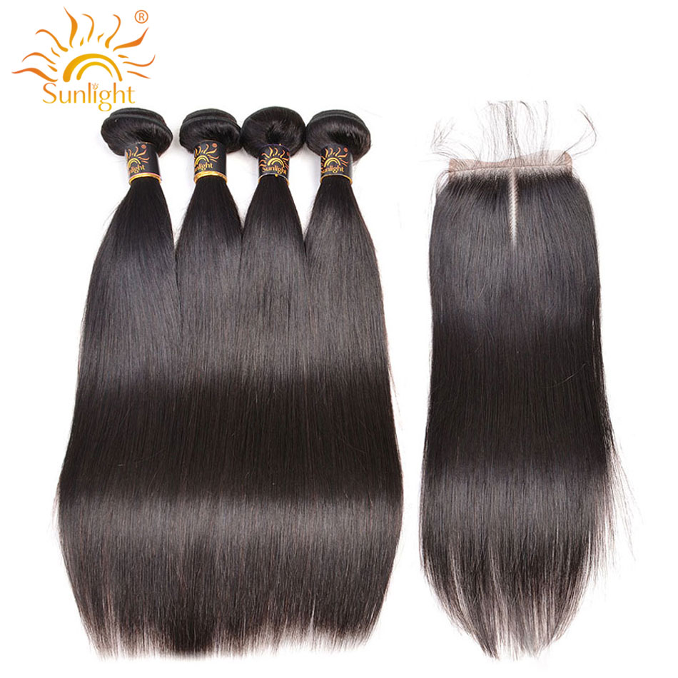 Brazilian Straight Hair 4 Bundles With Closure Remy Human Hair Bundles and 4x4 Lace Closure Sunlight