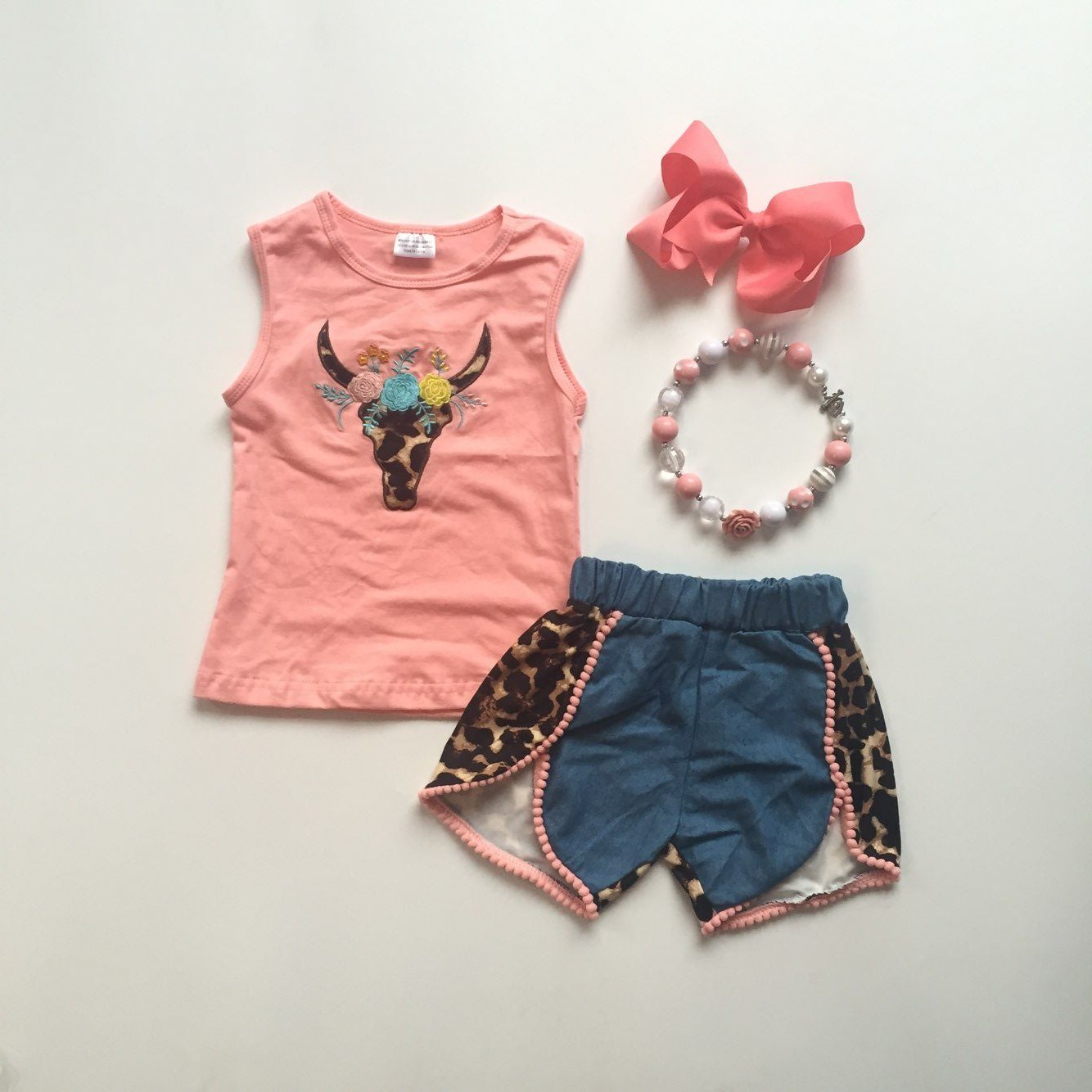 Baby Girls Summer Clothing Cow Head Coral Top Denim Shorts With Leopard Print Kids Boutique Clothes With Accessories