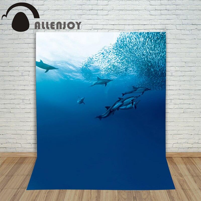 Allenjoy photography theme background Mermaid legend Marine dolphin fish sea water backdrop fantasy photocall Professional