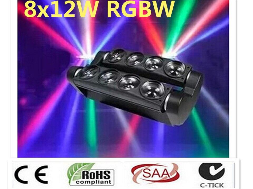 2 pz/lotto nuovo moving head light led spider 8x12 w rgbw 4in1 fascio di luce