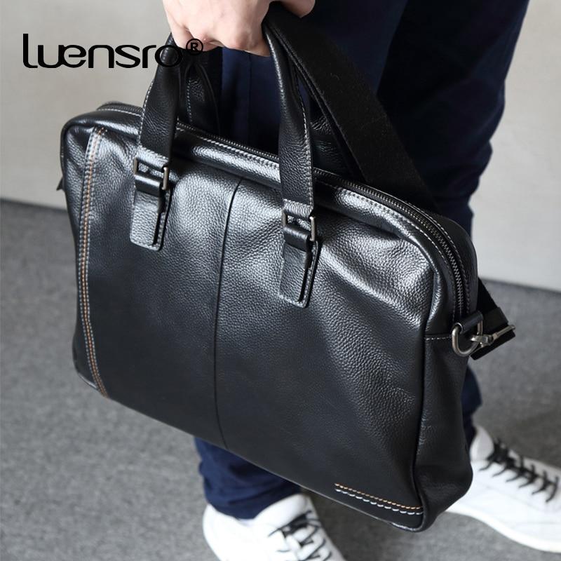 Luensro 남자 서류 가방 정품 가죽 가방 쇠가죽 채찍으로 치다 남자 핸드백 대용량 남성 가방 노트북 서류 가방 가죽 어깨 가방-에서서류 가방부터 수화물 & 가방 의  그룹 3