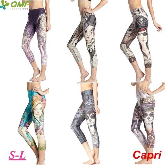 3f72084fa8a1a3 Sugar Skull Women High Waist Cropped Running Leggings Mermaid Sport Yoga  Skinny Tights Elastic Compression Fitness Trousers Slim