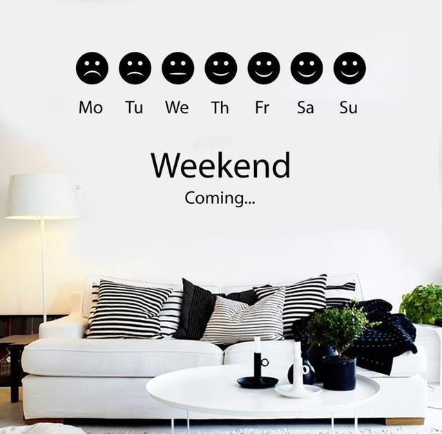 Humeur Smiley Week End Positif Stickers Muraux Vinyle Stickers Muraux  Chambre Autocollants Personnalité Créative Salon