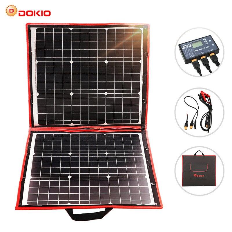 Dokio 80 w painel solar 12 v/18 v flexível foldble painel solar usb portátil célula solar kit para barcos/fora-porta de acampamento painel solar