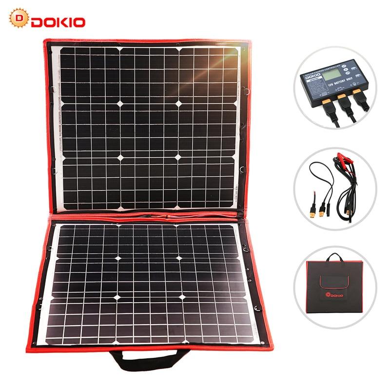 Dokio 80W panneau solaire 12 V/18 V Flexible panneau solaire pliable usb Portable Kit de cellules solaires pour bateaux/panneau solaire de Camping extérieur