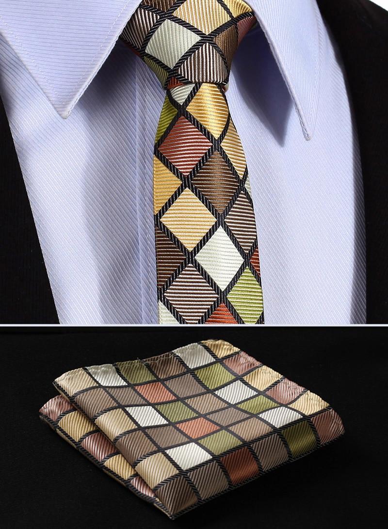 "TC4008G5 Green Brown Check 2.17"" 100%Silk Wedding Jacquard Woven Men Tie Necktie Pocket Square Handkerchief Set Suit"