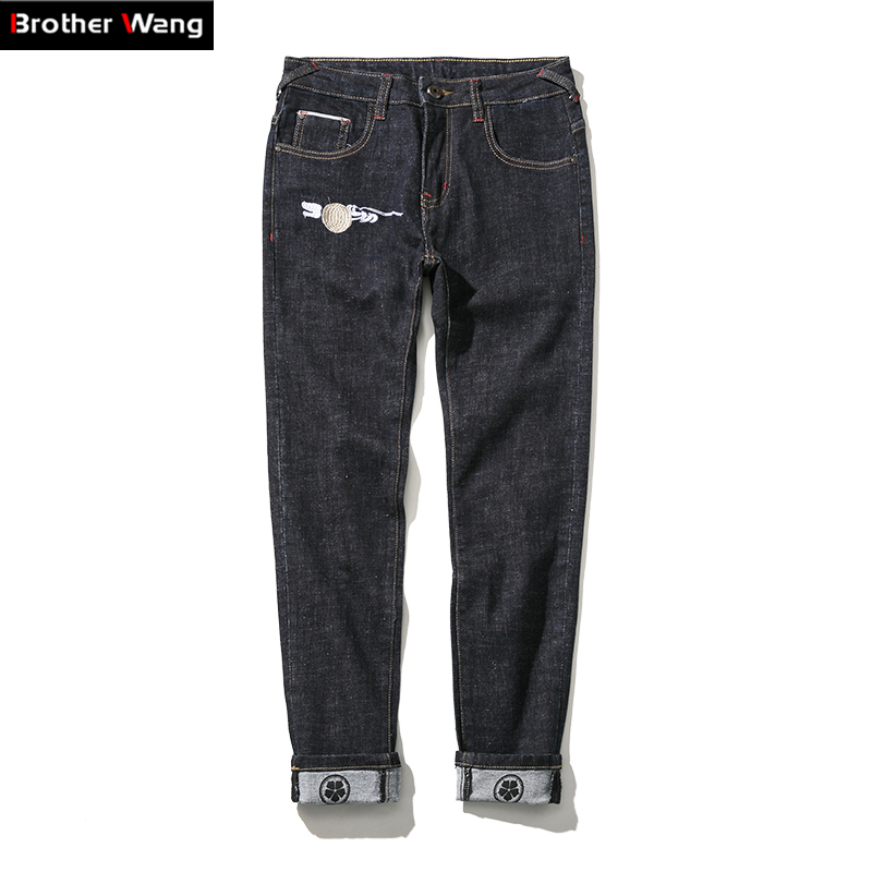 ФОТО Brothers wang stretch jeans men big size Chinese crane Embroidery boutique casual jeans Four Seasons brand men trousers 42 44 46