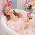 Mulheres Roupão Sleepwear Doce vestido de Princesa Rendas Camisola Para Senhoras Rosa Branco do Sono Salão Camisola Real Do Vintage Ocasional
