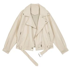 Image 5 - [EAM] 2020 nowa wiosna jesień Lapel długim rękawem moreli Pu skóra luźne duży rozmiar krótka kurtka kobiety płaszcz moda fala JX445