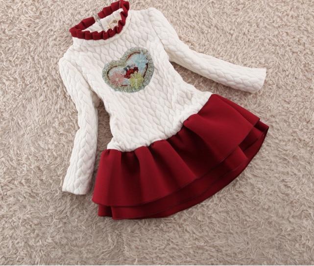 Christmas Girls Tutu Dress Thick Girls Dress Dots Red Santa Children Clothing Party Vestidos Girls Clothes Long Sleeve Baby стоимость