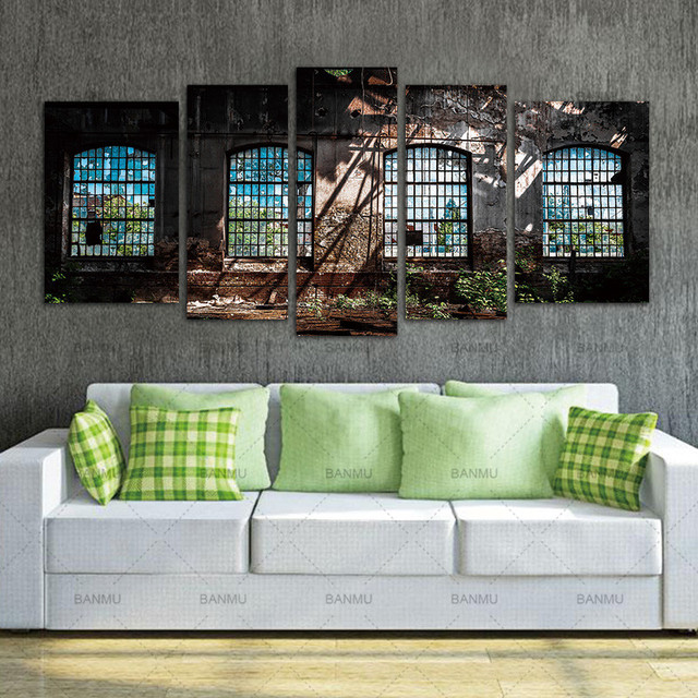 Wall Art Picture Canvas Paintings Home Decor Abandoned Industrial Interior  With 5 Panels Bright Light Ruin