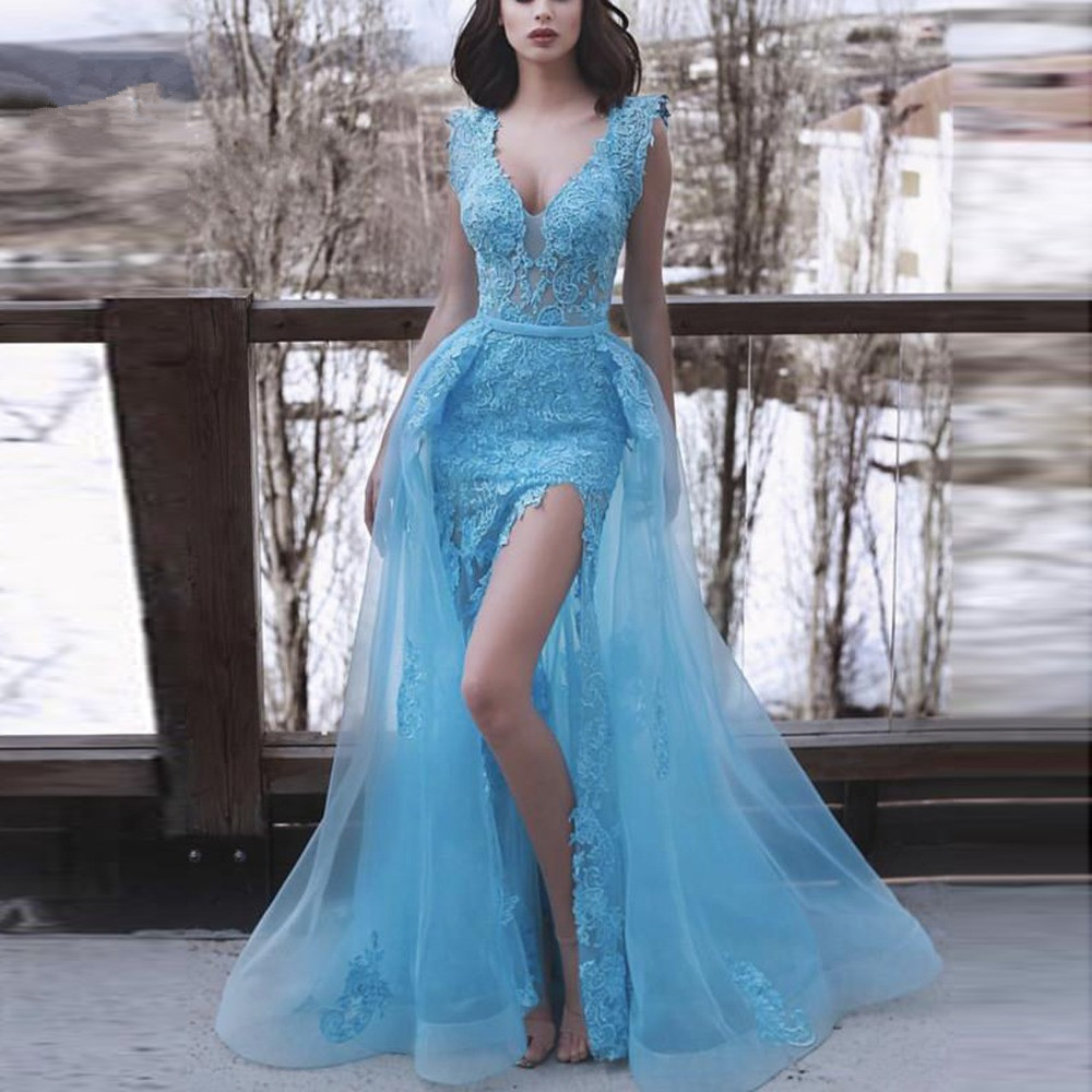 Ambitious Blue 2019 Prom Dresses Mermaid V-neck Cap Sleeves Tulle Lace Slit Sexy Party Long Prom Gown Evening Dresses Robe De Soiree Invigorating Blood Circulation And Stopping Pains