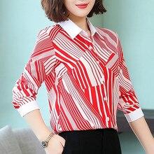 6dbe174e3a Koszule damskie szyfonowa bluzka w paski kobiety z długim rękawem koszule  Plus rozmiar XXXL 4XL