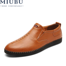 MIUBU Brand 2019 New Slip on Casual Men Loafers Spring and Autumn Mens Moccasins Shoes Leather Flats Fashion
