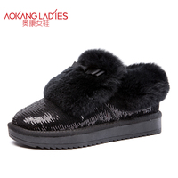 AOKANG 2017 shoes woman plush shoes Classic ladies Winter Suede Ankle Snow Boots Female low heel boots women