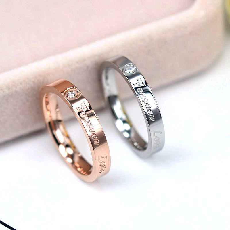 KNOCK Top Quality Concise Zircon Wedding stainless steel material Rose Gold love forever engagement Ring Never Fade Jewelry