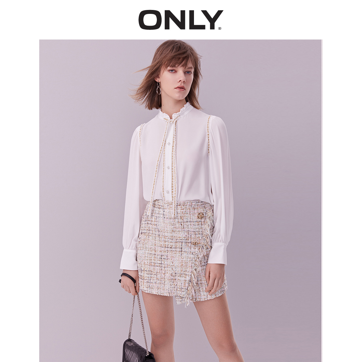 ONLY 2019 Spring Summer New Women's Loose Fit Bowknot Long-sleeved Chiffon Shirt |119104504