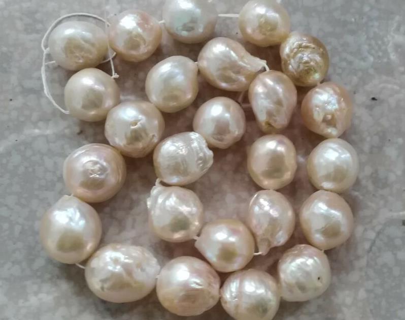 Elegante 12-13mm naturale mari del sud rosa perla collana 18 inch 14 K oroElegante 12-13mm naturale mari del sud rosa perla collana 18 inch 14 K oro