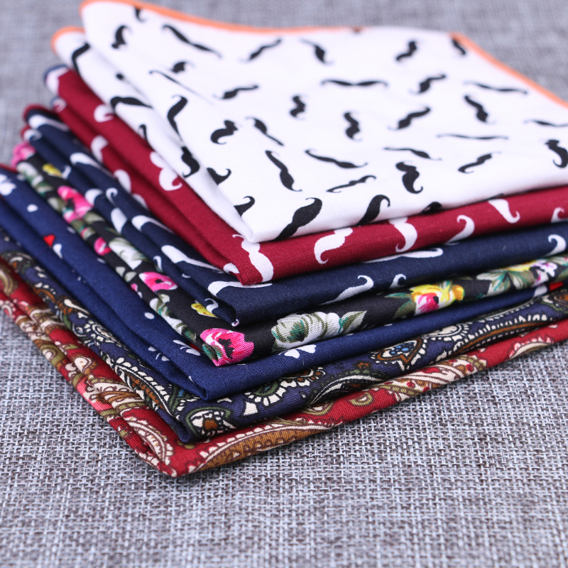 Apparel Accessories Kr100-113 High Quality Mens Cotton Handkerchief Popular Sailor Anchor Print Handmade Suit Pocket Square Chest Towel Hankies The Latest Fashion