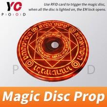 Yopood magic disc prop 탈출 실 실제 게임 사용 rfid 카드를 사용하여 마술 배열을 터뜨릴 때까지 점차 밝아야합니다.