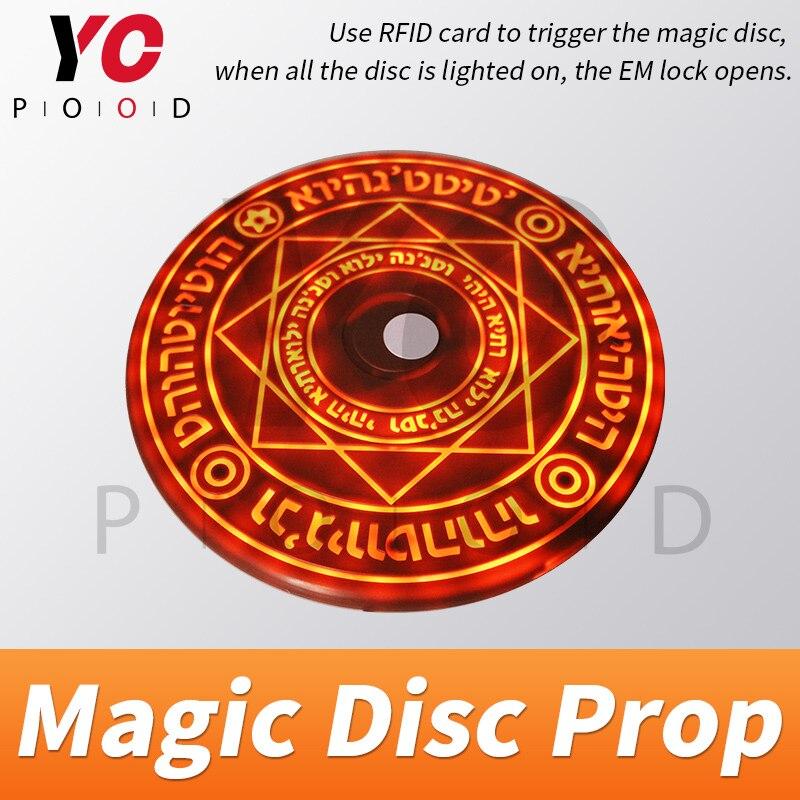 Yowood disco mágico prop sala de fuga jogo da vida real uso cartão rfid para desencadear disposição mágica ser brilhante gradualmente até abrir takagism