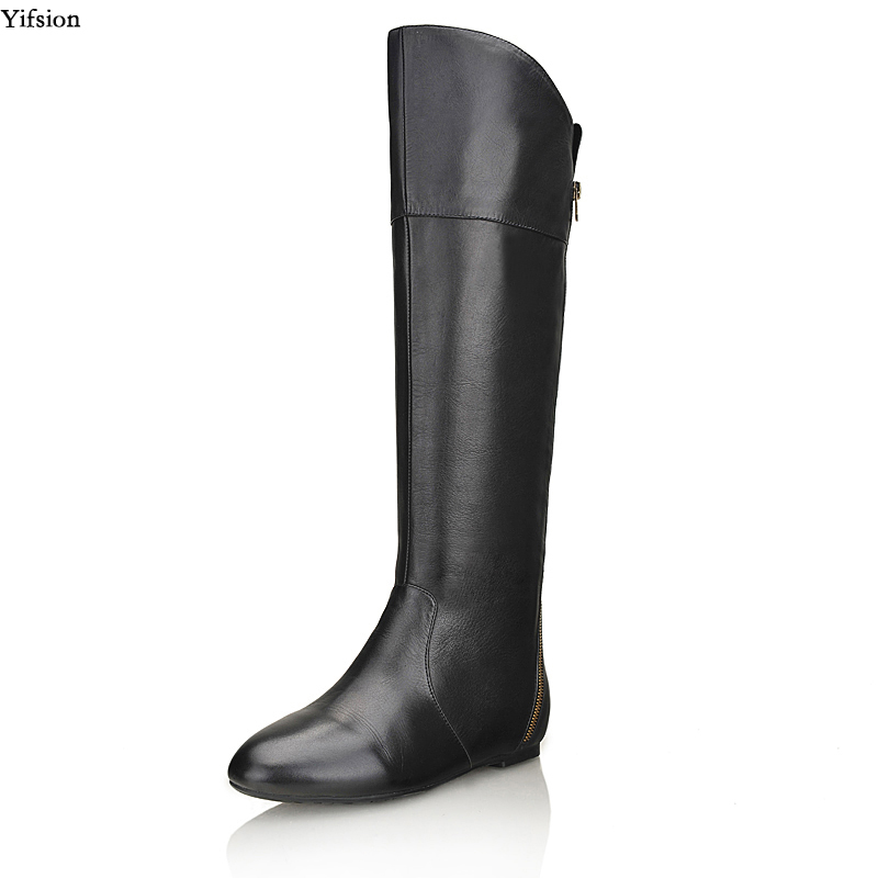 Yifsion New Women Winter Knee High Leather Boots Wedges Heel Boots Fashion Round Toe Elegant Black Party Shoes Women US Size 3-9 equte rssc4c99s5 fashionable elegant titanium steel women s ring black us size 5