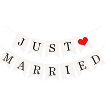 White Just Married Banner Rustic Garland Wedding Table Decoration Bridal Shower Party Events Supplies