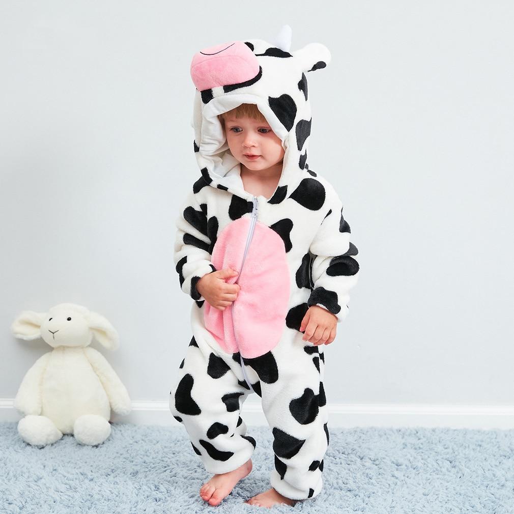 Одежда для новорожденных, комбинезоны для мальчиков и девочек с рисунками животных, комбинезон из коровьей кожи, фланелевый костюм с капюшо...