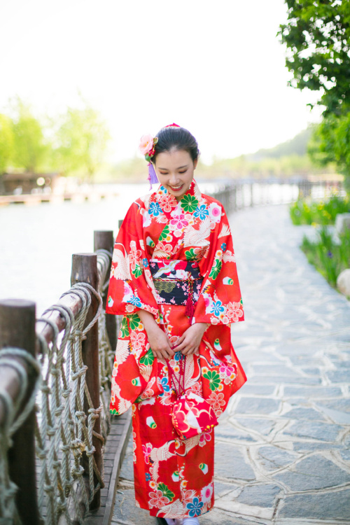 Japanese Orange Red Crane Tea Flower Style Traditional Kimono Suit For Woman