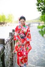 Japanese Orange Red Crane Tea Flower Style Traditional Kimono Suit for Woman