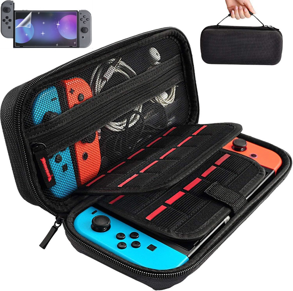 NS Travel Carrying Case 19 Game Shell Card Holders Pouch Bag for Nintend Switch Console and Accessories With Screen Protector цена и фото