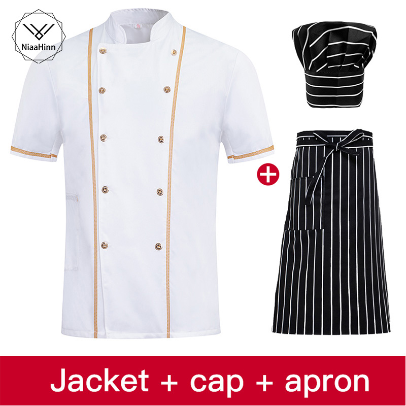 Men And Women Summer Short-sleeved White Breathable Double-breasted Collar Overalls Chef Apron Hotel Uniform Chef Hat Chef Shirt