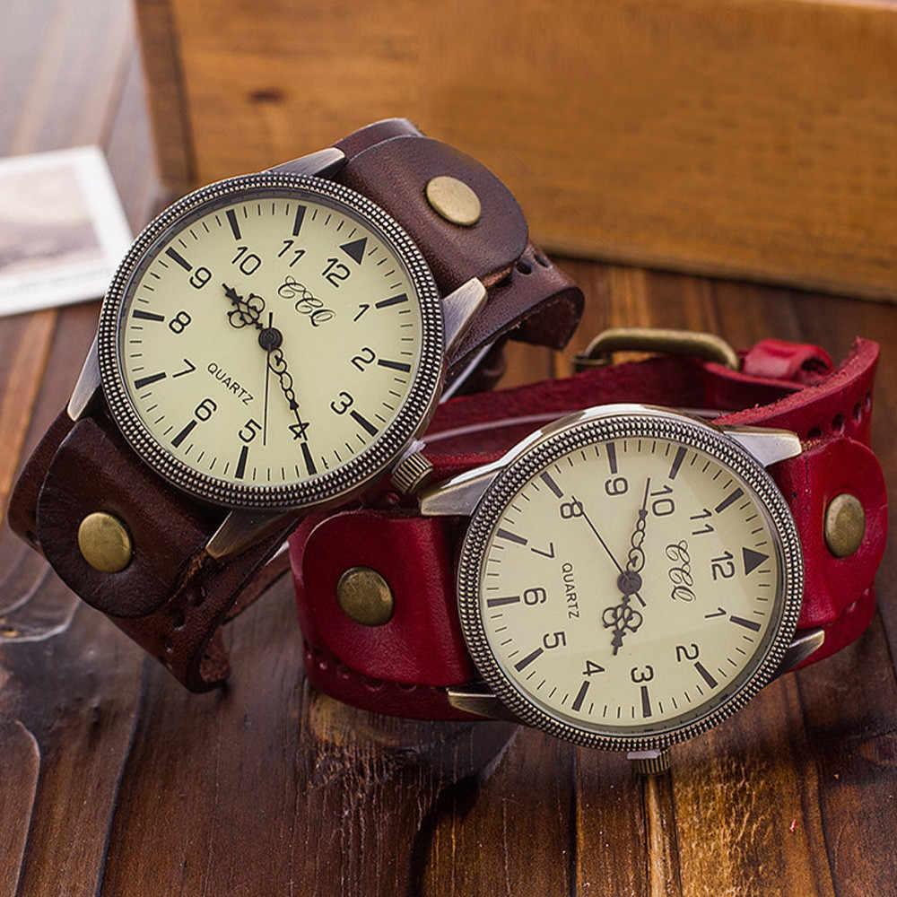 c25da411eb4 ... CCQ Элитный бренд Винтаж кожаным ремешком Для мужчин Для женщин  наручные Женская одежда кварцевые часы ...